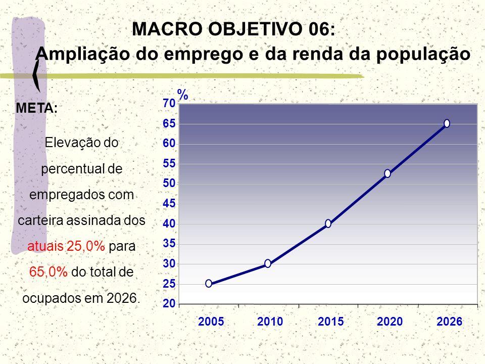 MACRO OBJETIVO 06: Ampliação do emprego e da renda da população Elevação do percentual de empregados com carteira assinada dos atuais 25,0% para 65,0%