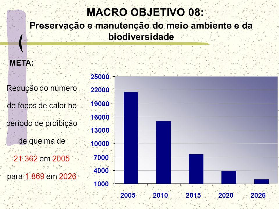 MACRO OBJETIVO 08: Preservação e manutenção do meio ambiente e da biodiversidade 1000 4000 7000 10000 13000 16000 19000 22000 25000 200520102015202020