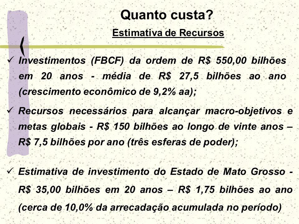 Investimentos (FBCF) da ordem de R$ 550,00 bilhões em 20 anos - média de R$ 27,5 bilhões ao ano (crescimento econômico de 9,2% aa); Recursos necessári