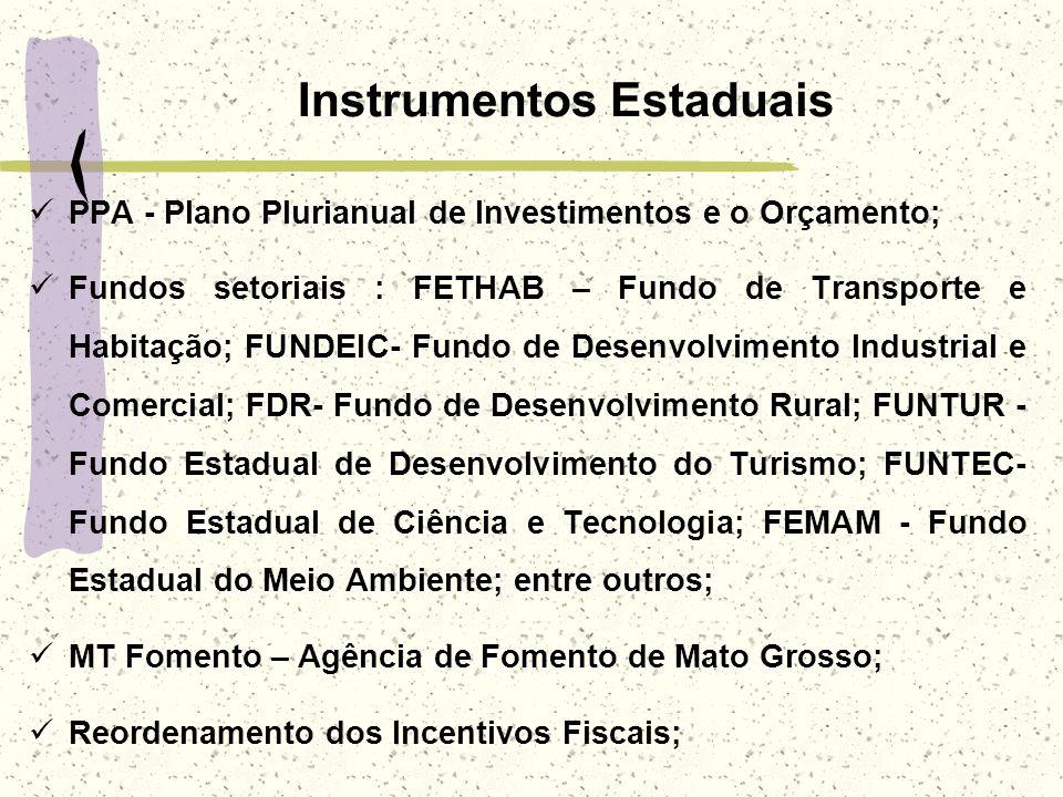 Instrumentos Estaduais PPA - Plano Plurianual de Investimentos e o Orçamento; Fundos setoriais : FETHAB – Fundo de Transporte e Habitação; FUNDEIC- Fu