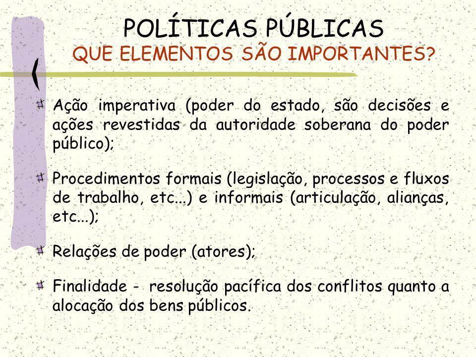 POLÍTICAS PÚBLICAS QUE ELEMENTOS SÃO IMPORTANTES? Ação imperativa (poder do estado, são decisões e ações revestidas da autoridade soberana do poder pú