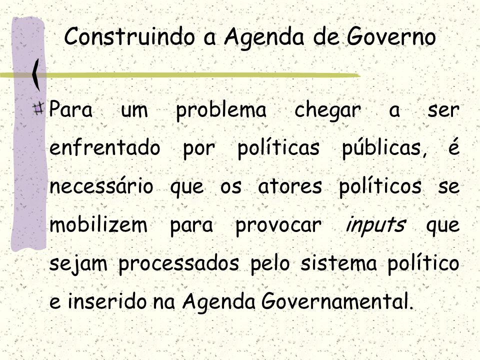 Construindo a Agenda de Governo Para um problema chegar a ser enfrentado por políticas públicas, é necessário que os atores políticos se mobilizem par