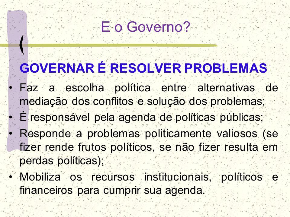 E o Governo? GOVERNAR É RESOLVER PROBLEMAS Faz a escolha política entre alternativas de mediação dos conflitos e solução dos problemas; É responsável