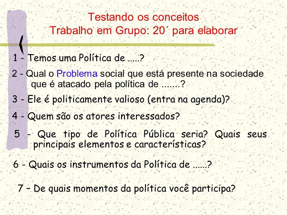 Testando os conceitos Trabalho em Grupo: 20´ para elaborar 2 - Qual o Problema social que está presente na sociedade que é atacado pela política de...