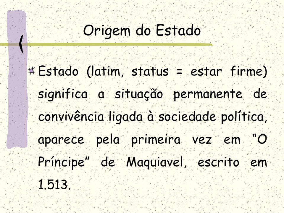 Origem do Estado Estado (latim, status = estar firme) significa a situação permanente de convivência ligada à sociedade política, aparece pela primeir