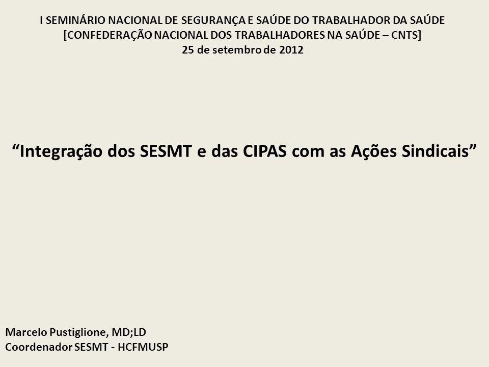 Marcelo Pustiglione, MD;LD Coordenador SESMT - HCFMUSP Integração dos SESMT e das CIPAS com as Ações Sindicais I SEMINÁRIO NACIONAL DE SEGURANÇA E SAÚ
