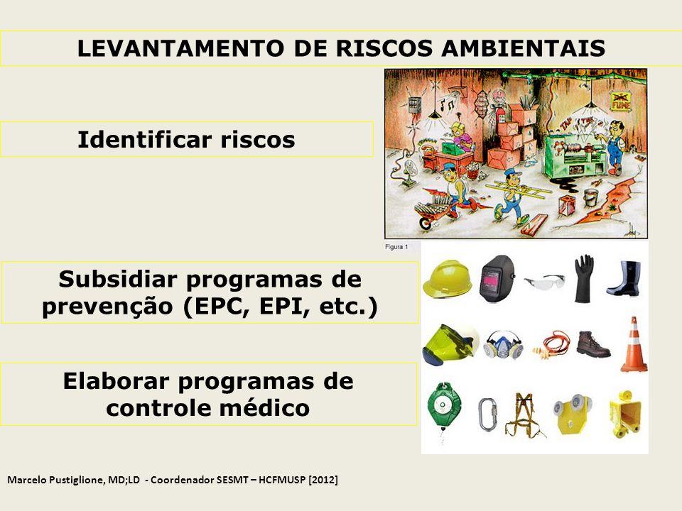 LEVANTAMENTO DE RISCOS AMBIENTAIS Identificar riscos Subsidiar programas de prevenção (EPC, EPI, etc.) Elaborar programas de controle médico Marcelo P