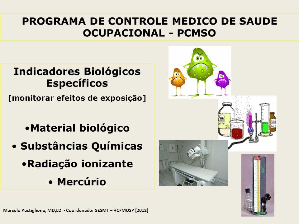PROGRAMA DE CONTROLE MEDICO DE SAUDE OCUPACIONAL - PCMSO Indicadores Biológicos Específicos [monitorar efeitos de exposição] Material biológico Substâ