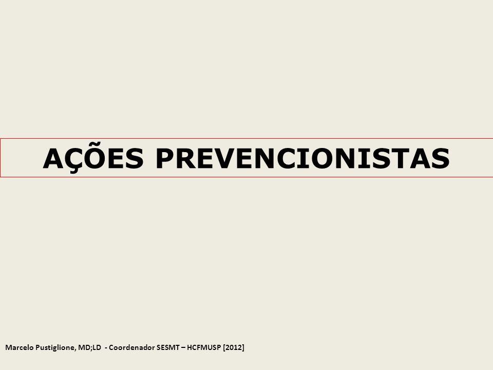 AÇÕES PREVENCIONISTAS Marcelo Pustiglione, MD;LD - Coordenador SESMT – HCFMUSP [2012]