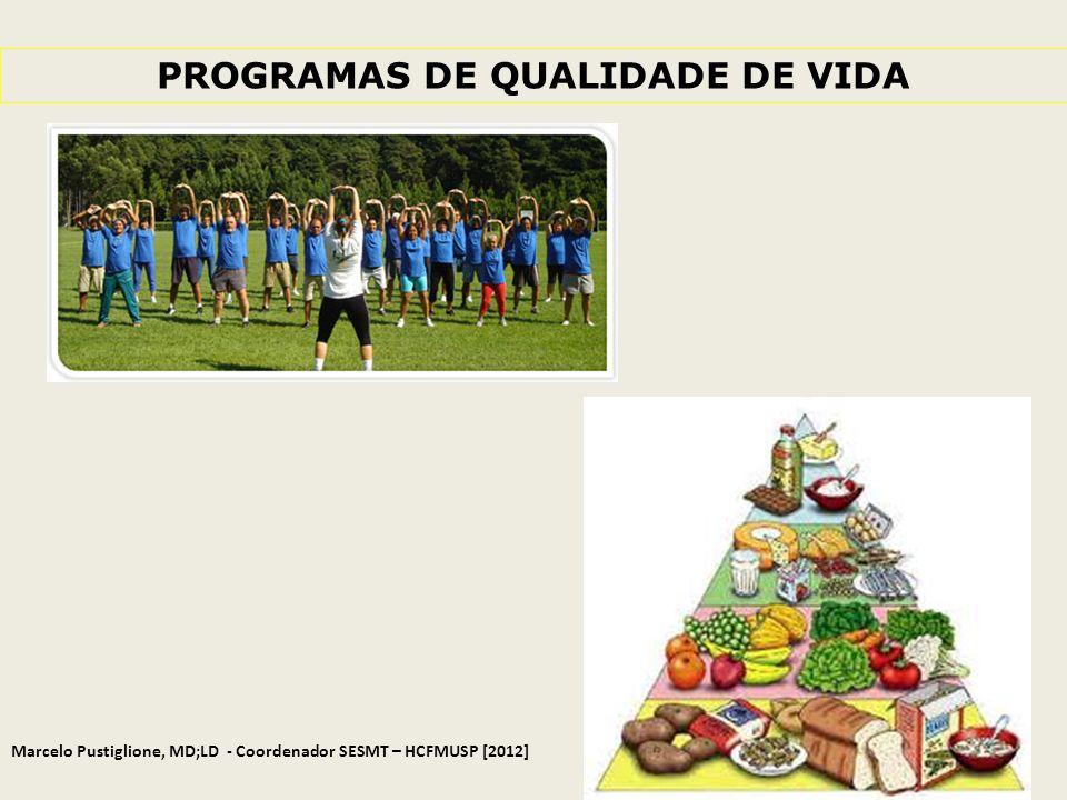 PROGRAMAS DE QUALIDADE DE VIDA Marcelo Pustiglione, MD;LD - Coordenador SESMT – HCFMUSP [2012]