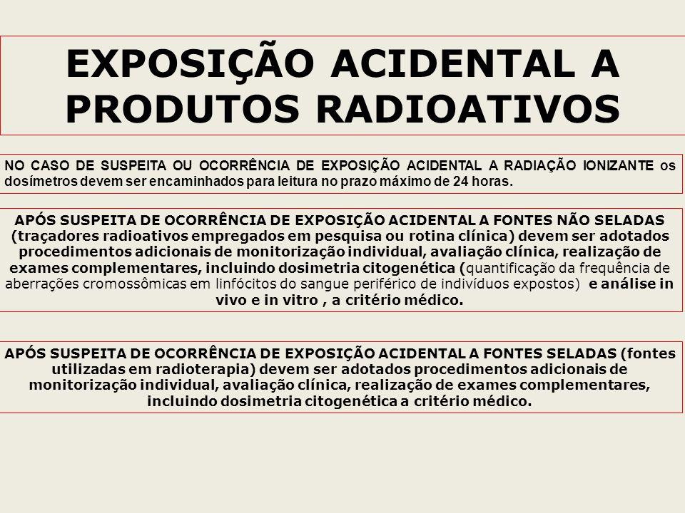 EXPOSIÇÃO ACIDENTAL A PRODUTOS RADIOATIVOS APÓS SUSPEITA DE OCORRÊNCIA DE EXPOSIÇÃO ACIDENTAL A FONTES NÃO SELADAS (traçadores radioativos empregados