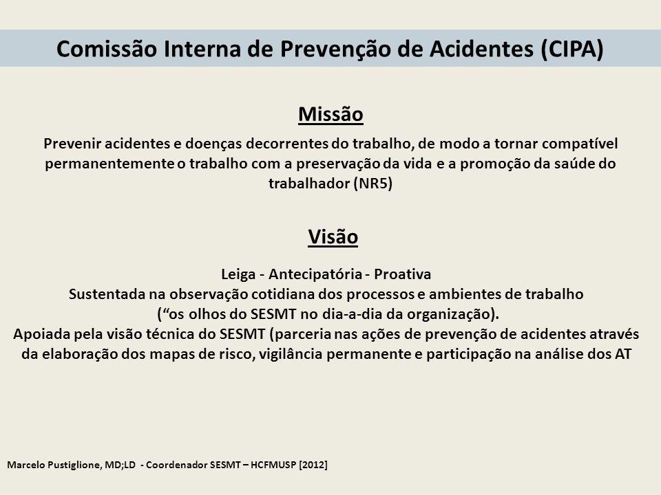 Marcelo Pustiglione, MD;LD - Coordenador SESMT – HCFMUSP [2012] Prevenir acidentes e doenças decorrentes do trabalho, de modo a tornar compatível perm