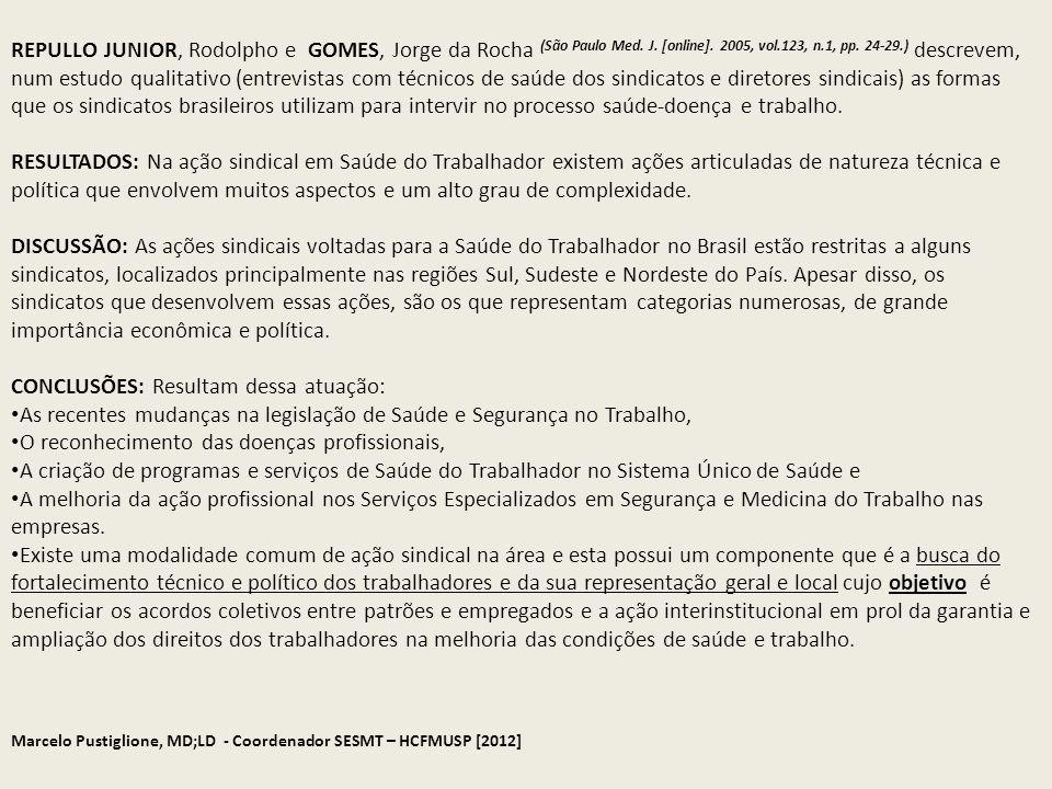 Marcelo Pustiglione, MD;LD - Coordenador SESMT – HCFMUSP [2012] REPULLO JUNIOR, Rodolpho e GOMES, Jorge da Rocha (São Paulo Med. J. [online]. 2005, vo