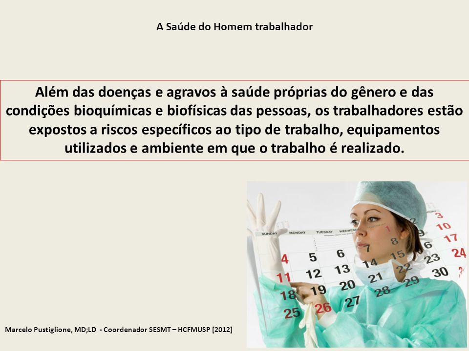 Marcelo Pustiglione, MD;LD - Coordenador SESMT – HCFMUSP [2012] A Saúde do Homem trabalhador Além das doenças e agravos à saúde próprias do gênero e d