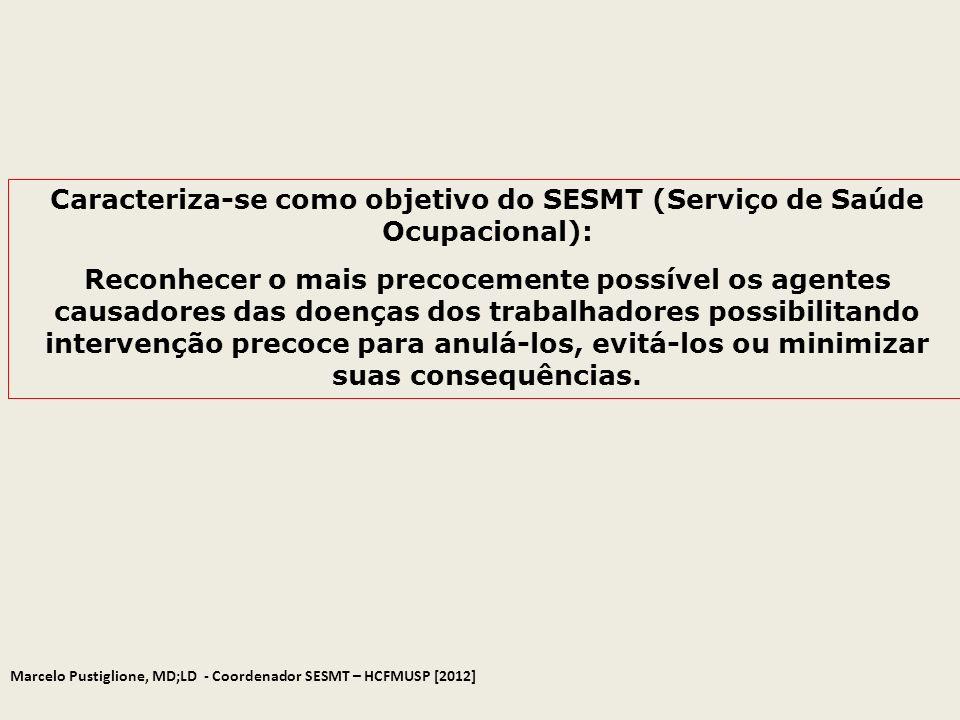 Caracteriza-se como objetivo do SESMT (Serviço de Saúde Ocupacional): Reconhecer o mais precocemente possível os agentes causadores das doenças dos tr