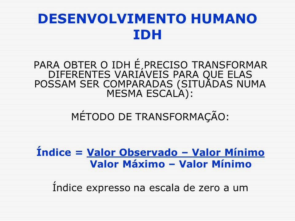 DESENVOLVIMENTO HUMANO IDH PARA OBTER O IDH É PRECISO TRANSFORMAR DIFERENTES VARIÁVEIS PARA QUE ELAS POSSAM SER COMPARADAS (SITUADAS NUMA MESMA ESCALA