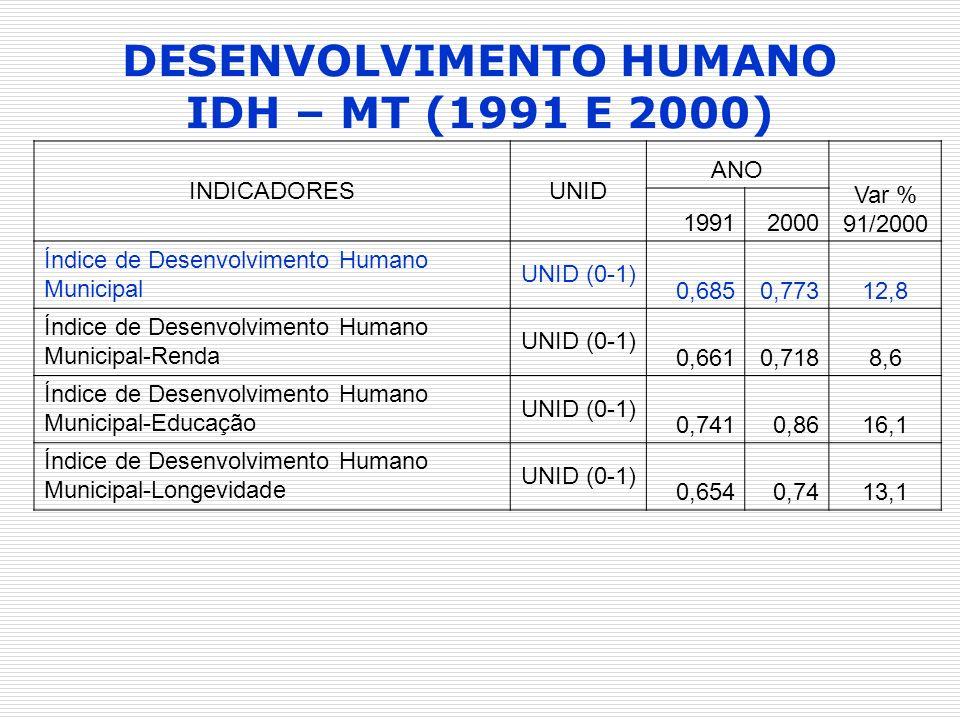 INDICADORESUNID ANO Var % 91/2000 19912000 Índice de Desenvolvimento Humano Municipal UNID (0-1) 0,6850,77312,8 Índice de Desenvolvimento Humano Munic