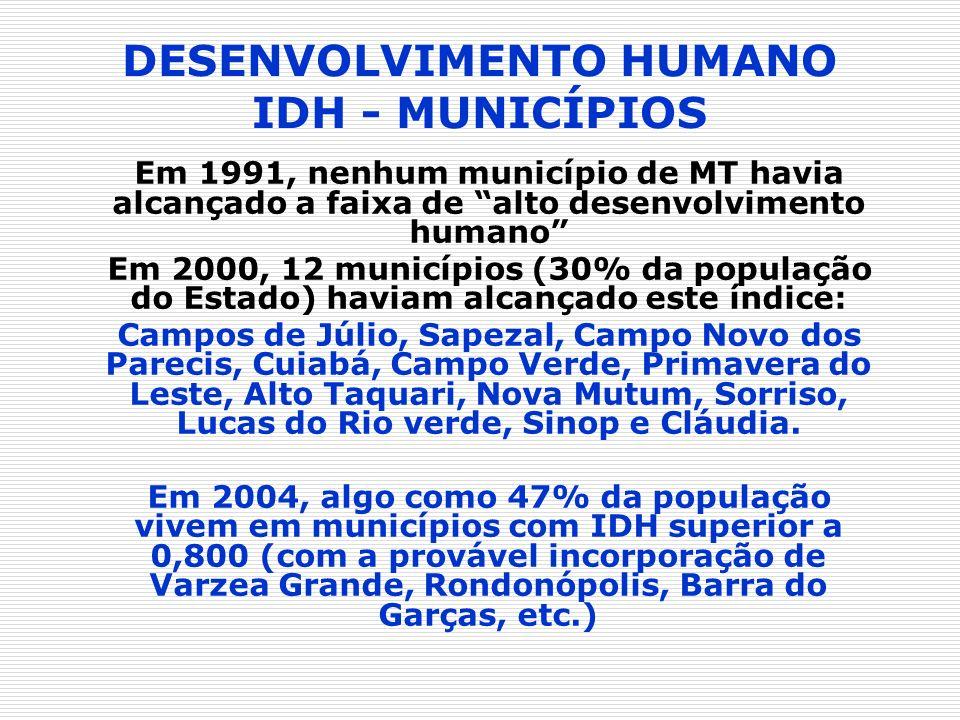 DESENVOLVIMENTO HUMANO IDH - MUNICÍPIOS Em 1991, nenhum município de MT havia alcançado a faixa de alto desenvolvimento humano Em 2000, 12 municípios