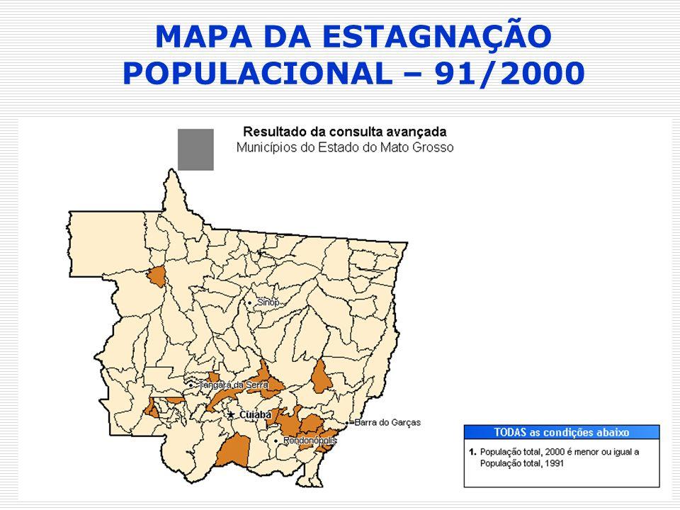 MAPA DA ESTAGNAÇÃO POPULACIONAL – 91/2000