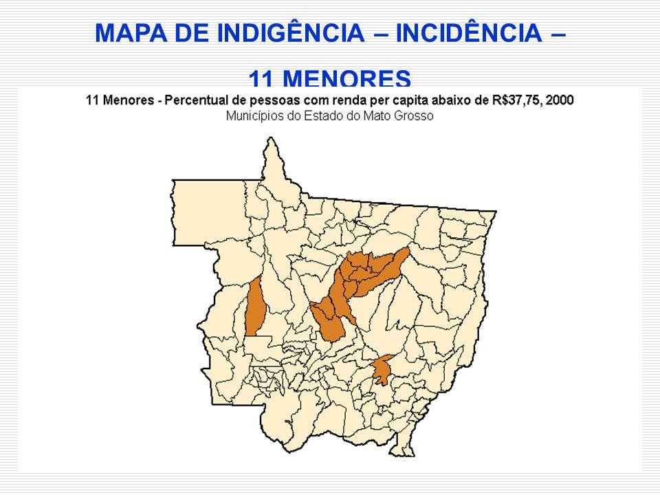 MAPA DE INDIGÊNCIA – INCIDÊNCIA – 11 MENORES