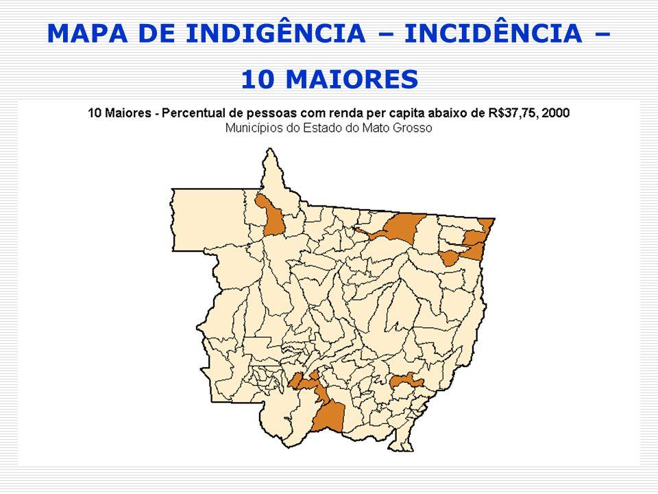 MAPA DE INDIGÊNCIA – INCIDÊNCIA – 10 MAIORES