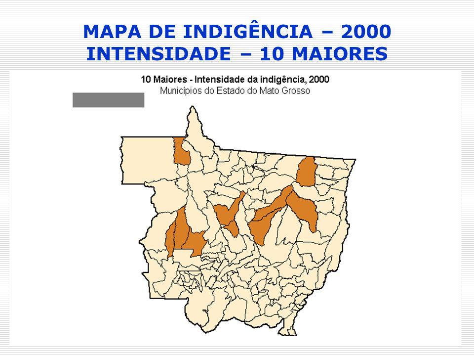 MAPA DE INDIGÊNCIA – 2000 INTENSIDADE – 10 MAIORES