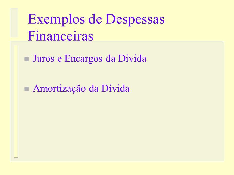 Exemplos de Receitas Financeiras n Títulos n Operações de créditos n Remuneração de Disponibilidades n Superávit financeiro (não faz parte do período
