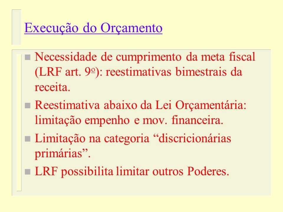 n O Legislativo não Pode Alterar: – Meta de Resultado Estabelecida na LDO; – Despesas com Dívida e Pessoal.