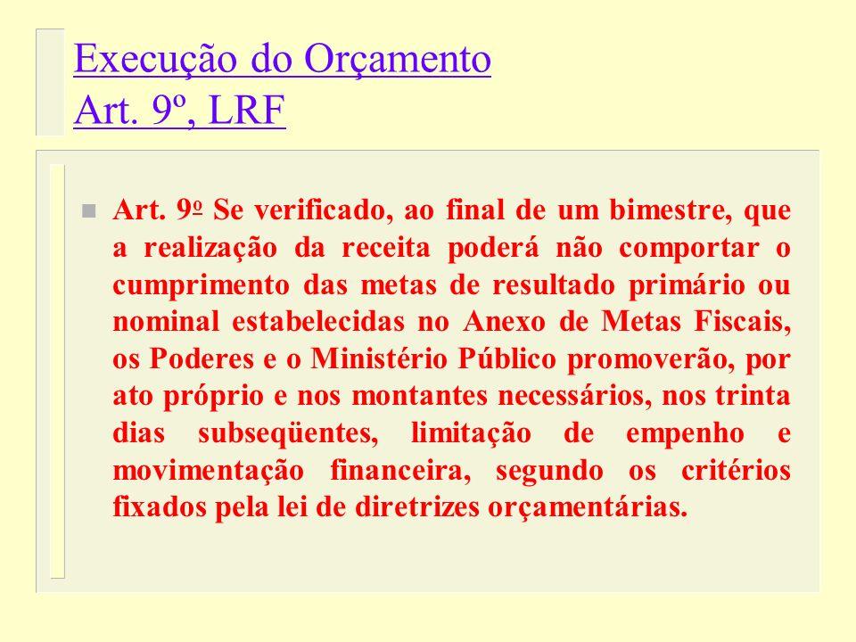 Execução do Orçamento n Necessidade de cumprimento da meta fiscal (LRF art. 9 o ): reestimativas bimestrais da receita. n Reestimativa abaixo da Lei O