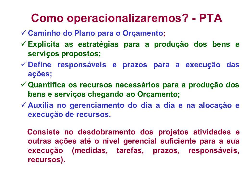 Como operacionalizaremos? - PTA Caminho do Plano para o Orçamento; Explicita as estratégias para a produção dos bens e serviços propostos; Define resp