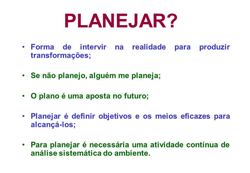 PLANEJAR? Forma de intervir na realidade para produzir transformações; Se não planejo, alguém me planeja; O plano é uma aposta no futuro; Planejar é d