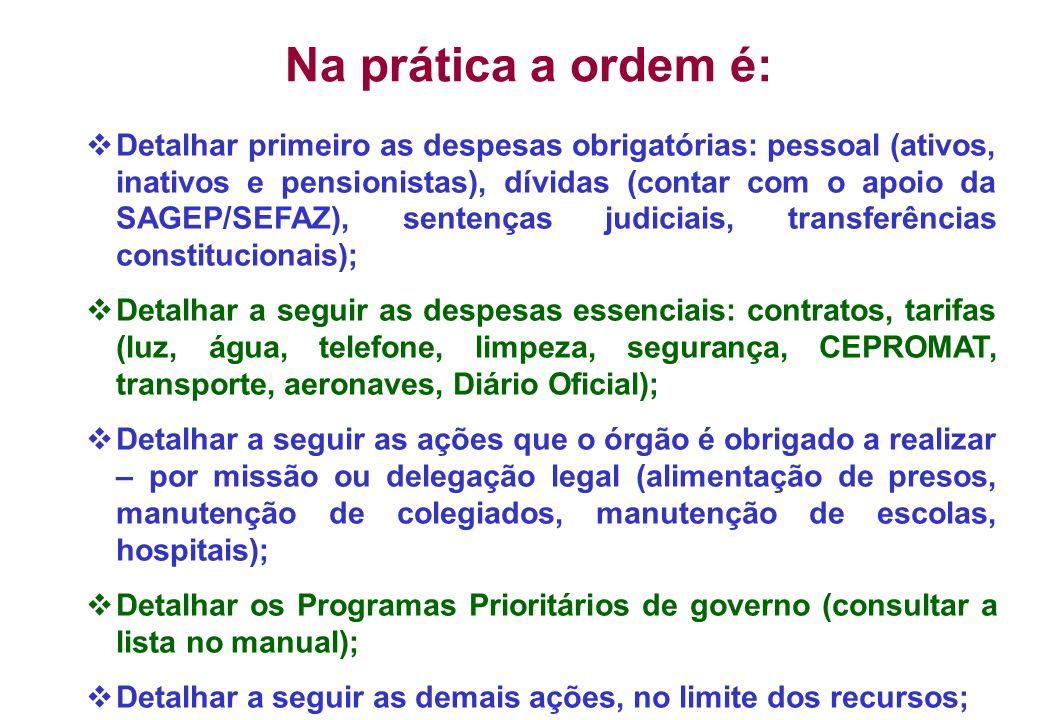 Na prática a ordem é: Detalhar primeiro as despesas obrigatórias: pessoal (ativos, inativos e pensionistas), dívidas (contar com o apoio da SAGEP/SEFA