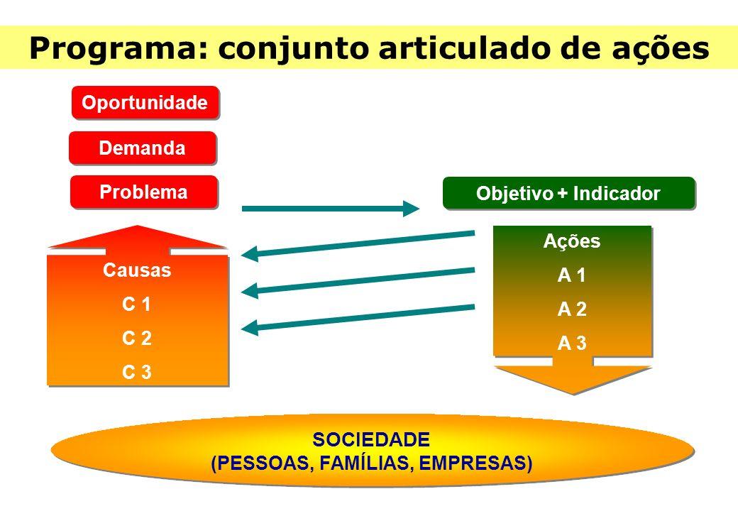Problema Objetivo + Indicador Causas C 1 C 2 C 3 Causas C 1 C 2 C 3 SOCIEDADE (PESSOAS, FAMÍLIAS, EMPRESAS) SOCIEDADE (PESSOAS, FAMÍLIAS, EMPRESAS) Ações A 1 A 2 A 3 Ações A 1 A 2 A 3 Programa: conjunto articulado de ações Demanda Oportunidade
