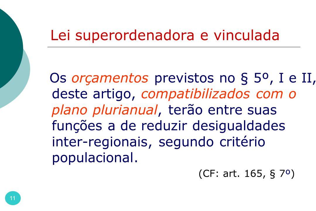 Lei superordenadora e vinculada 11 Os orçamentos previstos no § 5º, I e II, deste artigo, compatibilizados com o plano plurianual, terão entre suas fu