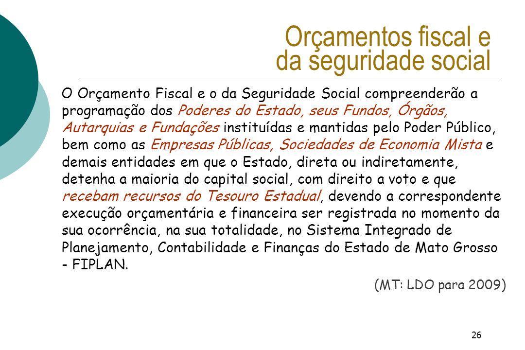 26 Orçamentos fiscal e da seguridade social O Orçamento Fiscal e o da Seguridade Social compreenderão a programação dos Poderes do Estado, seus Fundos