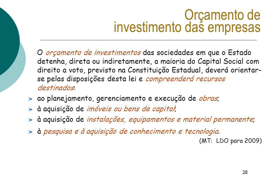 28 Orçamento de investimento das empresas O orçamento de investimentos das sociedades em que o Estado detenha, direta ou indiretamente, a maioria do C