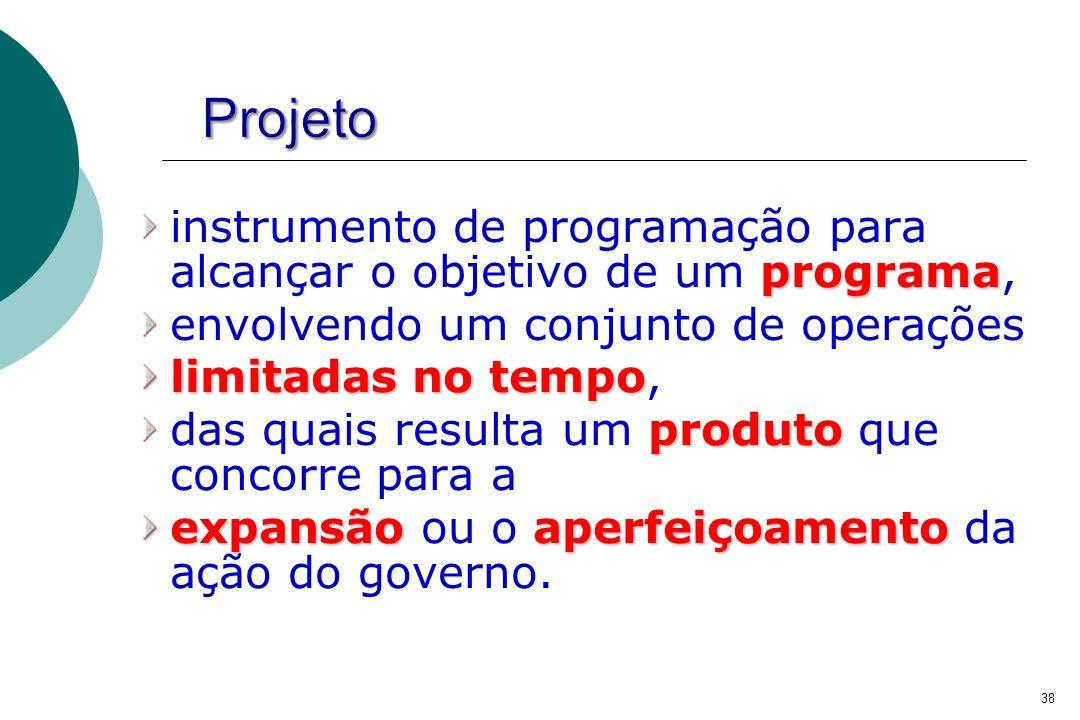 programa instrumento de programação para alcançar o objetivo de um programa, envolvendo um conjunto de operações limitadas no tempo limitadas no tempo