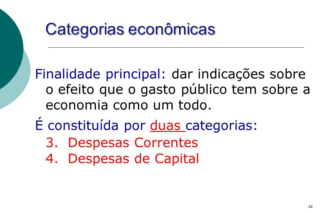 44 Finalidade principal: dar indicações sobre o efeito que o gasto público tem sobre a economia como um todo. É constituída por duas categorias: 3. De