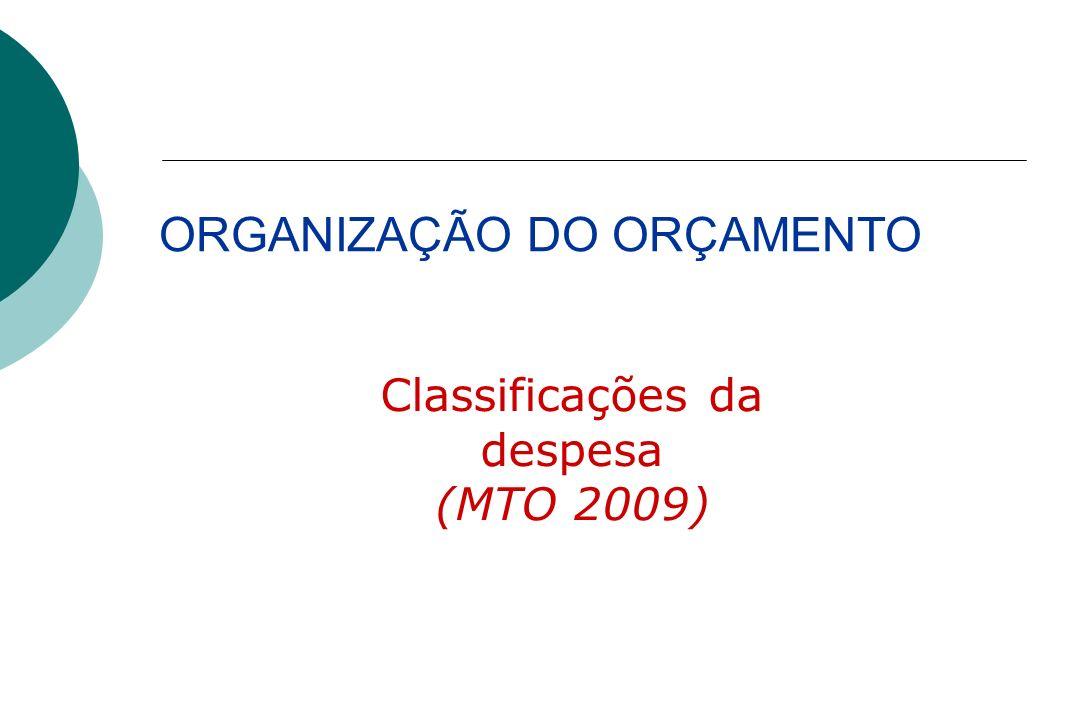 Classificações da despesa (MTO 2009) ORGANIZAÇÃO DO ORÇAMENTO