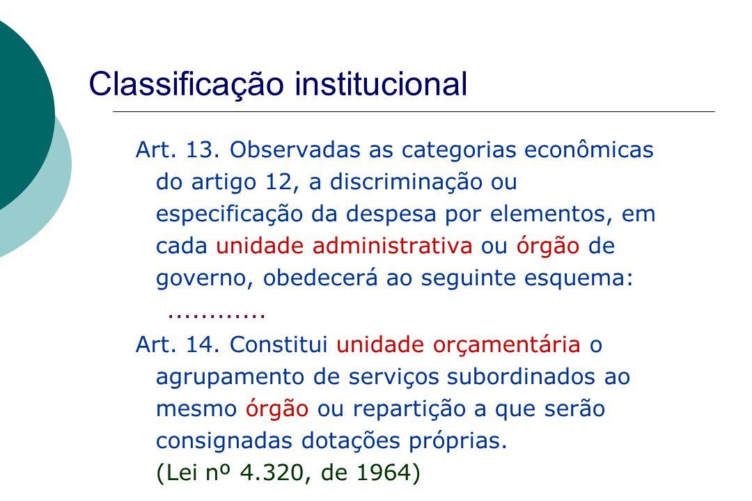 57 Classificação institucional Art. 13. Observadas as categorias econômicas do artigo 12, a discriminação ou especificação da despesa por elementos, e