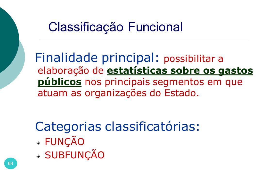64 Classificação Funcional Finalidade principal: possibilitar a elaboração de estatísticas sobre os gastos públicos nos principais segmentos em que at