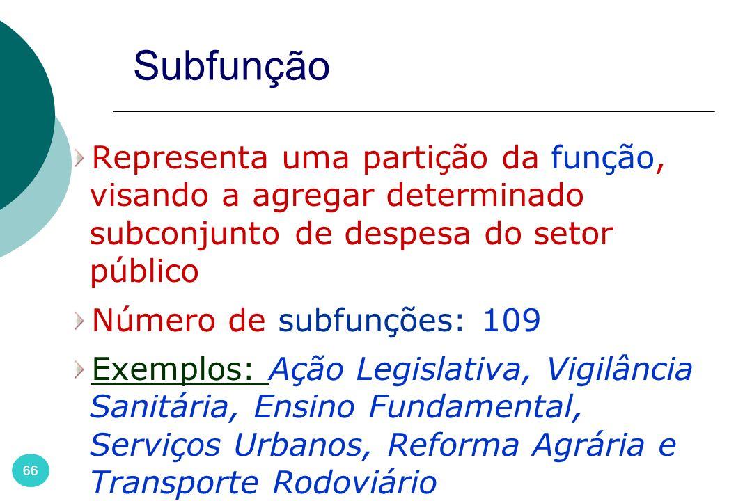 66 Subfunção Representa uma partição da função, visando a agregar determinado subconjunto de despesa do setor público Número de subfunções: 109 Exempl