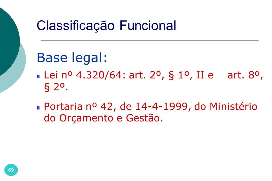 69 Classificação Funcional Base legal: Lei nº 4.320/64: art. 2º, § 1º, II e art. 8º, § 2º. Portaria nº 42, de 14-4-1999, do Ministério do Orçamento e