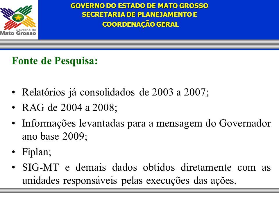 GOVERNO DO ESTADO DE MATO GROSSO SECRETARIA DE PLANEJAMENTO E COORDENAÇÃO GERAL COORDENAÇÃO GERAL Fonte de Pesquisa: Relatórios já consolidados de 2003 a 2007; RAG de 2004 a 2008; Informações levantadas para a mensagem do Governador ano base 2009; Fiplan; SIG-MT e demais dados obtidos diretamente com as unidades responsáveis pelas execuções das ações.