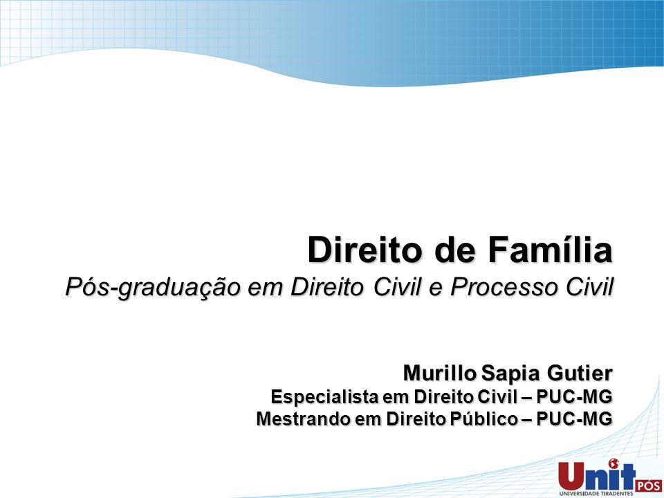 Direito de Família Pós-graduação em Direito Civil e Processo Civil Murillo Sapia Gutier Especialista em Direito Civil – PUC-MG Mestrando em Direito Pú