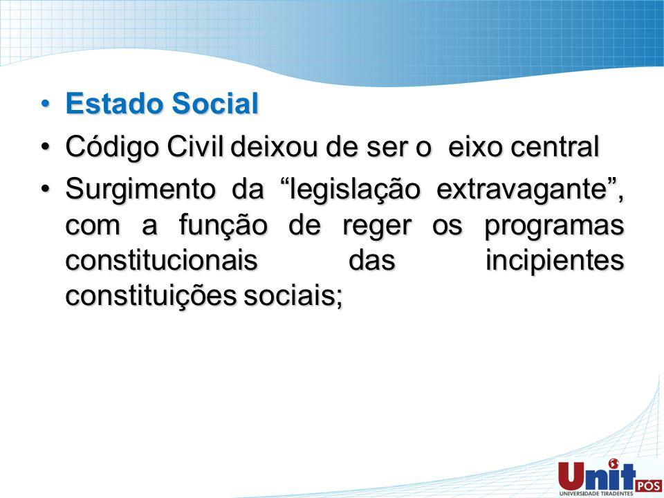 Estado SocialEstado Social Código Civil deixou de ser o eixo centralCódigo Civil deixou de ser o eixo central Surgimento da legislação extravagante, c