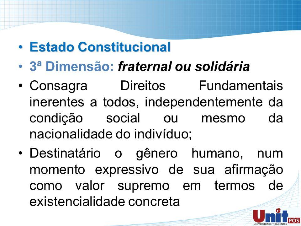 Estado ConstitucionalEstado Constitucional 3ª Dimensão: fraternal ou solidária Consagra Direitos Fundamentais inerentes a todos, independentemente da