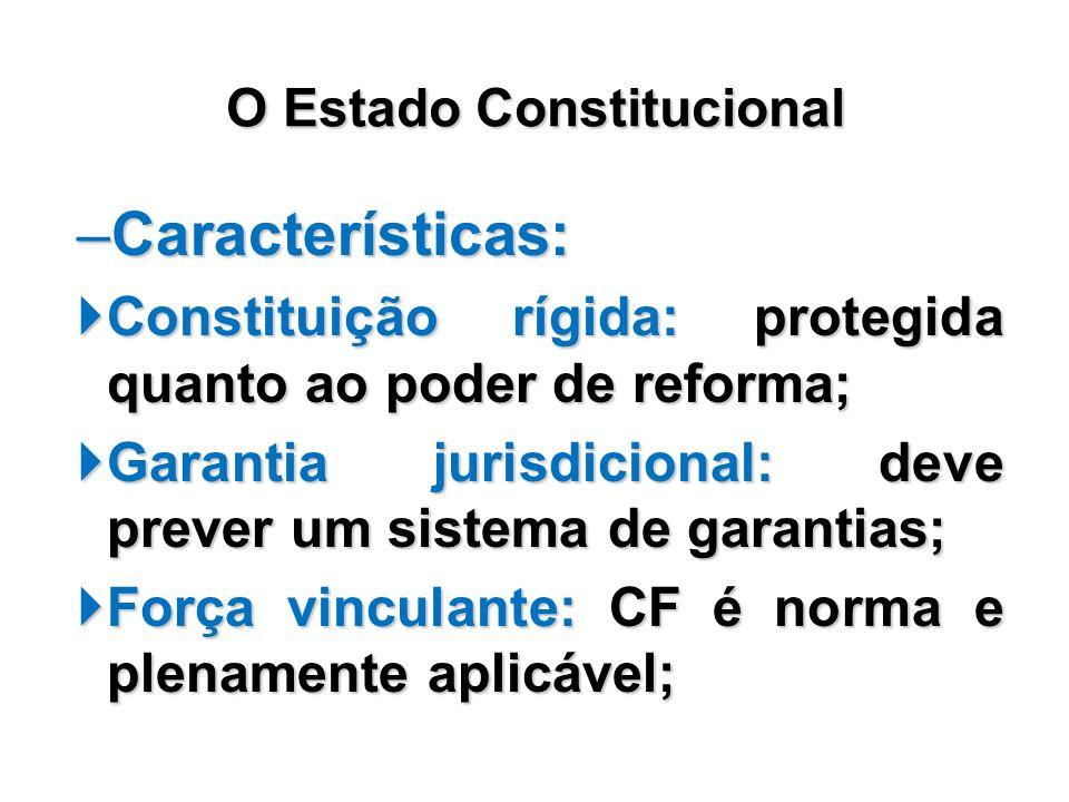 –Características: Constituição rígida: protegida quanto ao poder de reforma; Constituição rígida: protegida quanto ao poder de reforma; Garantia juris