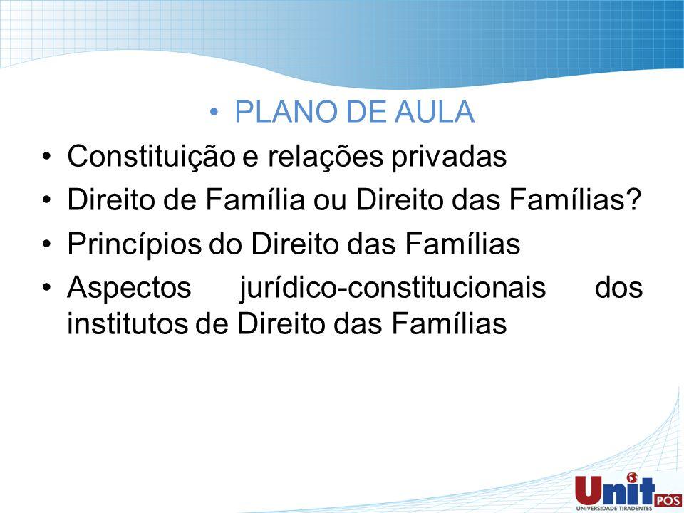 PLANO DE AULA Constituição e relações privadas Direito de Família ou Direito das Famílias? Princípios do Direito das Famílias Aspectos jurídico-consti