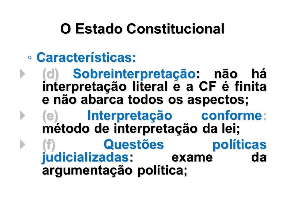 Características: Características: (d) Sobreinterpretação: não há interpretação literal e a CF é finita e não abarca todos os aspectos; (d) Sobreinterp